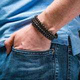 MOTLEY CREW Mens Bracelet Stack with Lava Beads Steel and Leather