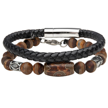 COMMUNAL Mens Bracelet Stack with Dzi Bead Wood and Leather