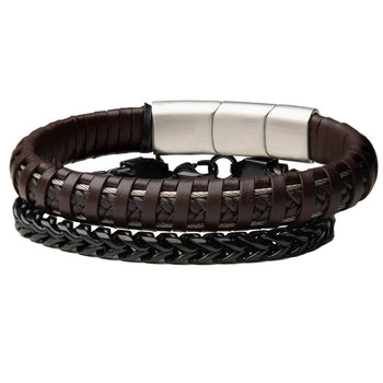 THE UNITED Brown Leather and Black Steel Franco Link Mens Bracelet Stack