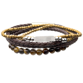 SANDCASTLE Mens Bracelet Stack with Tiger Eye Brown Leather and Hematite