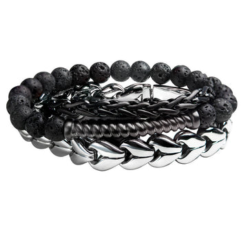 METAL TWIST Mens Bracelet Stack with Black Steel and Lava Beads