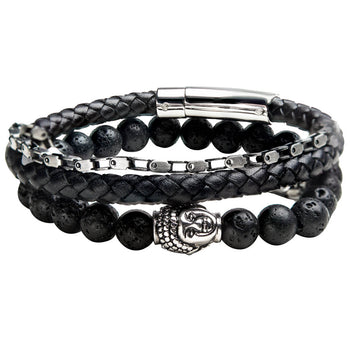 THE CIVILIZED Bracelet Stack for Men with Leather Steel and Buddha Bead