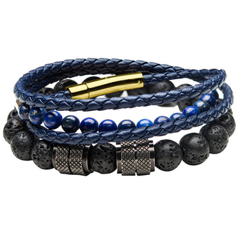 THE PIPELINE Blue Leather Bead and Gold Steel Bracelet Stack for Men