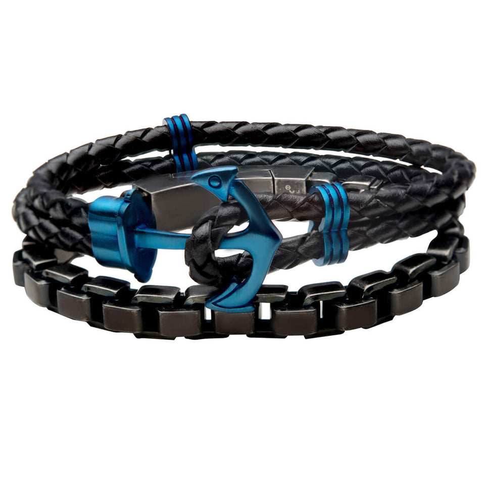 BALLAST Black and Blue Steel Leather Anchor Bracelet Stack for Men