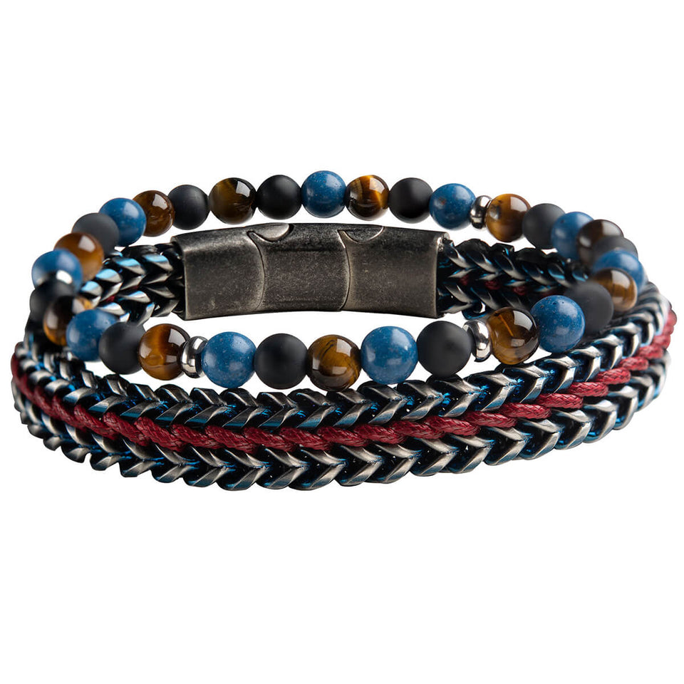 RED SEA Stainless Steel and Multi-Bead Bracelet Stack for Men