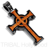 URBAN CELTIC CROSS PENDANT IN ROSEWOOD & GUNMETAL