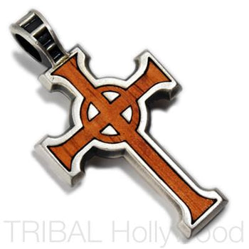 URBAN CELTIC CROSS PENDANT IN ROSEWOOD AND SILVER