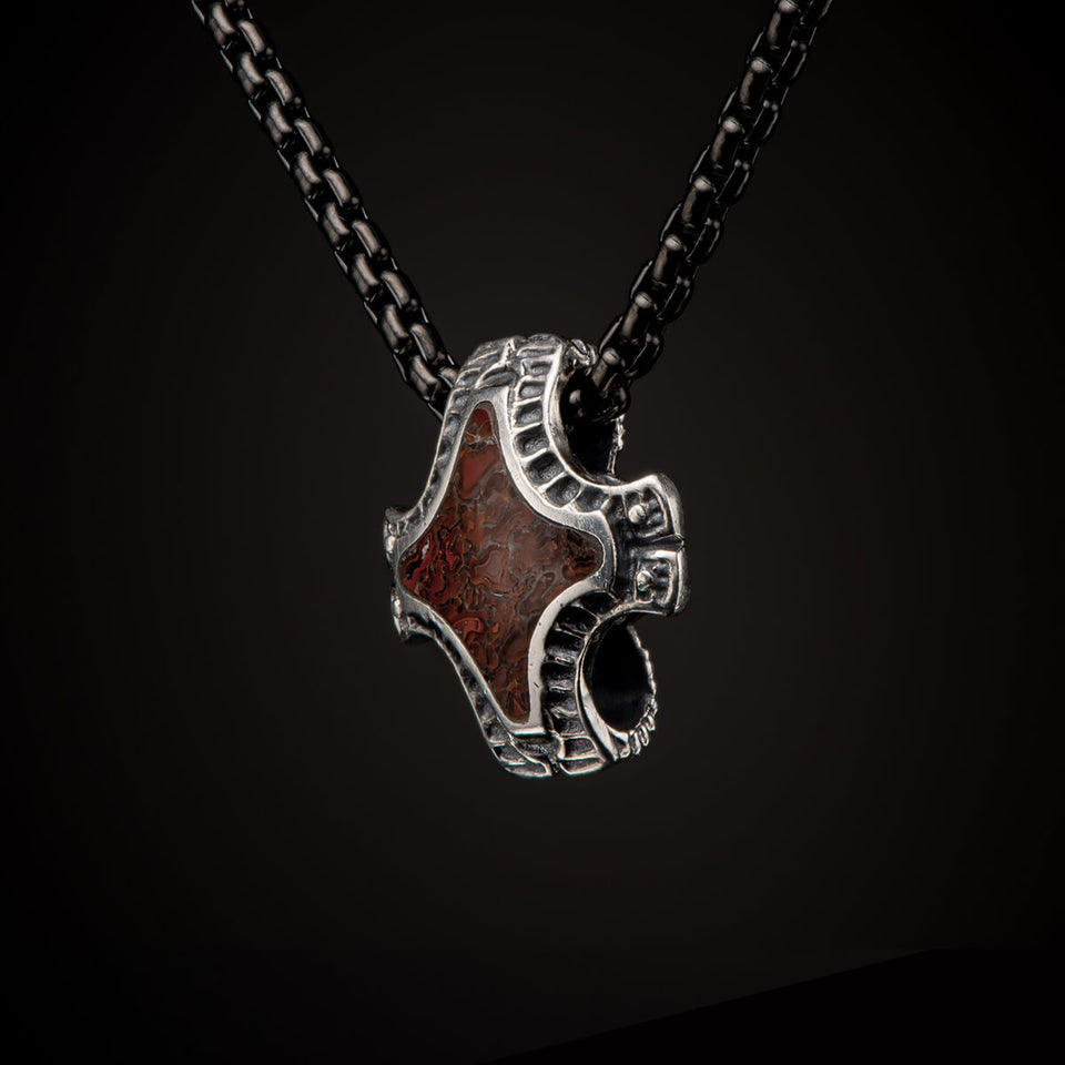 William Henry JURASSIC Red Dinosaur Bone Silver Mens Pendant Necklace from Tribal Hollywood