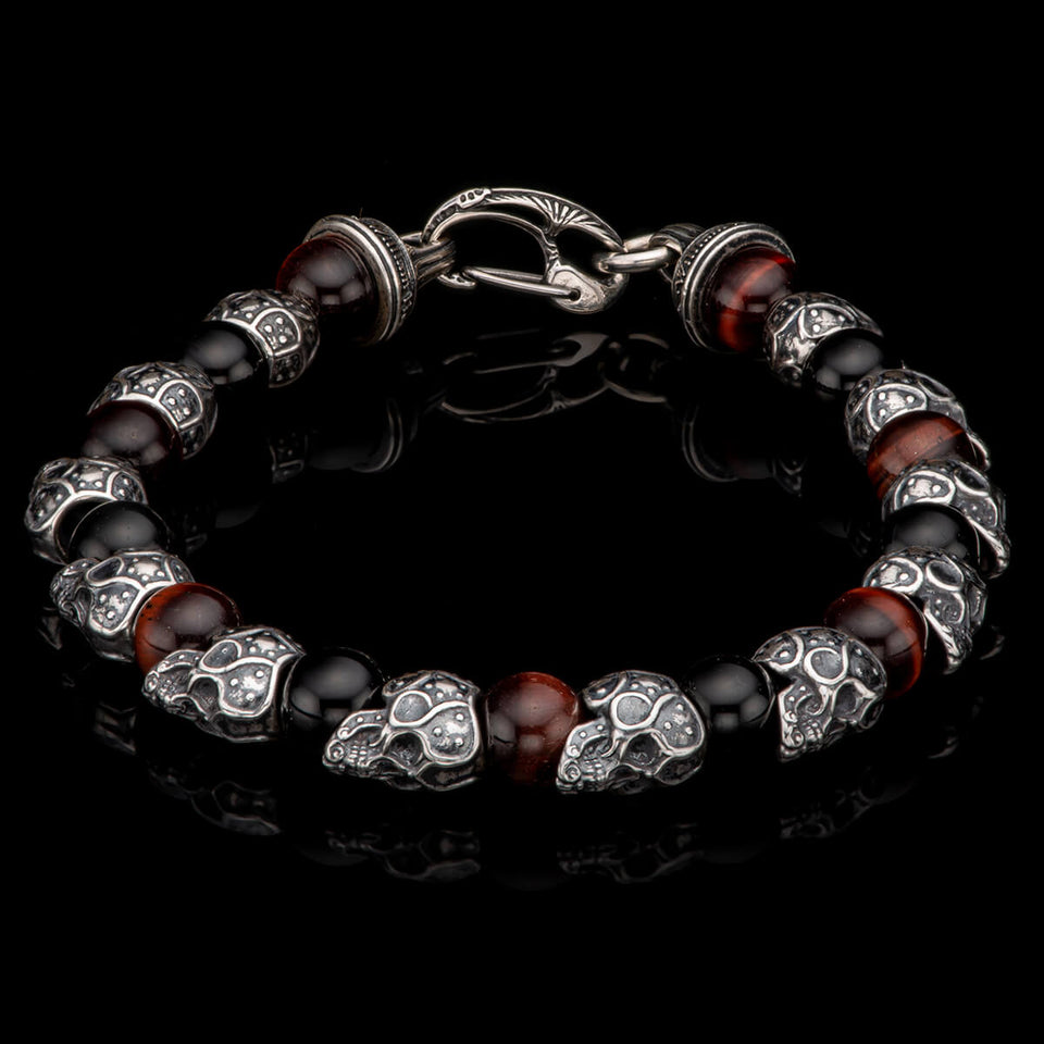 William Henry STEAM-SKULL Red and Black Bead Bracelet with Silver Skulls from Tribal Hollywood