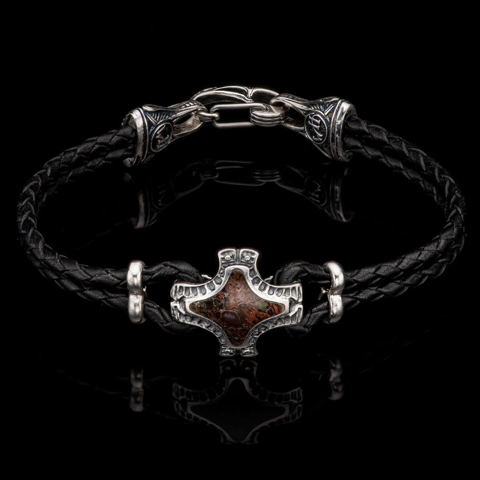 William Henry JURASSIC BRACELET Red Dinosaur Bone Leather Mens Bracelet from Tribal Hollywood