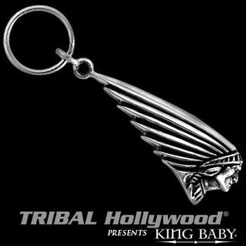 Indian Motorcycle Chief Key Fob Silver Keychain by King Baby