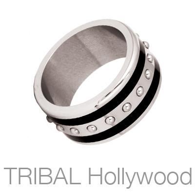 Streamliner Industrial Steel Black Striped Mens Ring by Bico