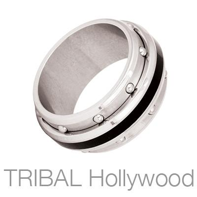Mustang Single Black Stripe Mens Spinner Ring by Bico