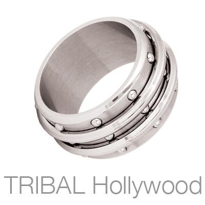 Corsair Three Row Steel Studs Mens Spinner Ring by Bico
