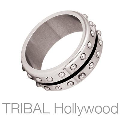 Tail Gunner Narrow Industrial Studded Mens Ring by Bico