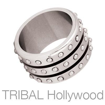 Tail Gunner Wide Black Stripes Industrial Studs Ring by Bico