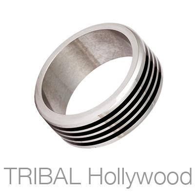 Vapor Four Black Stripes Industrial Mens Ring by Bico