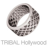 Precision Wide Width Perforated Circles Mens Ring by Bico