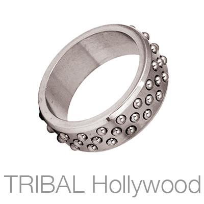 Kratos Narrow Industrial Studded Steel Mens Ring by Bico