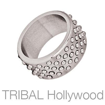 Kratos Wide Industrial Studded Steel Mens Ring by Bico
