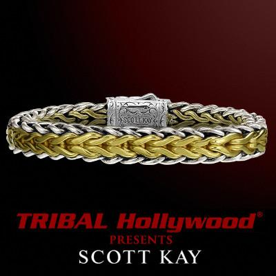Scott Kay Two Toned Doberman Bracelet In Sterling Silver and 18K Gold