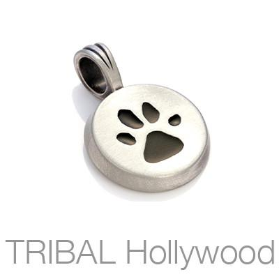 Paw Print Mens Necklace Pendant by Bico Australia Black