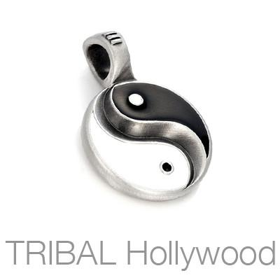Black and White Yin and Yang Mens Necklace Pendant by Bico