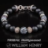 William Henry Freediver Fossilized Coral Mens Bead Bracelet