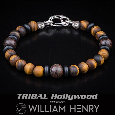William Henry Dragon Fire Dinosaur Fossil Mens Bead Bracelet