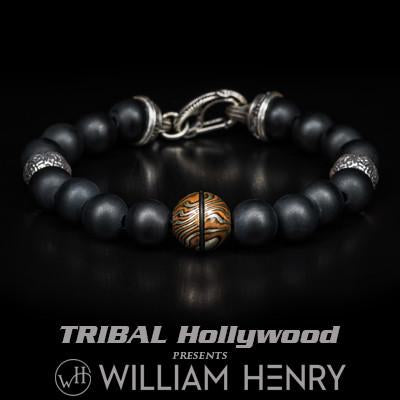 William Henry Mokume Gane Fused Metal Mens Bead Bracelet