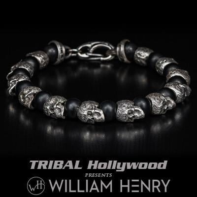 William Henry Alternating Silver Skulls Mens Bead Bracelet