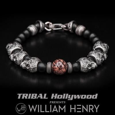 William Henry Dinosaur Fossil and Skulls Mens Bead Bracelet