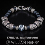 William Henry Shipwreck Sugar Skulls Mens Bead Bracelet