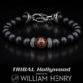 William Henry Red Dinosaur Fossil Mens Bead Bracelet