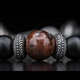 William Henry Red Dinosaur Fossil Mens Bead Bracelet 2