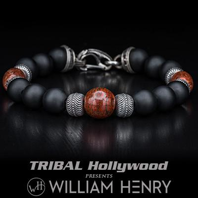 William Henry Triple Red Brown Dinosaur Bone Bead Bracelet