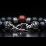 William Henry Triple Red Brown Dinosaur Bone Bead Bracelet 3