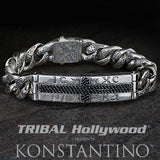 Konstantino Black Cross Greek Letters Mens ID Bracelet