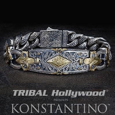 Konstantino Greek Tribal Shield Silver Mens ID Bracelet