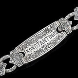 Konstantino Greek Tribal Shield Silver Mens ID Bracelet Reverse Side