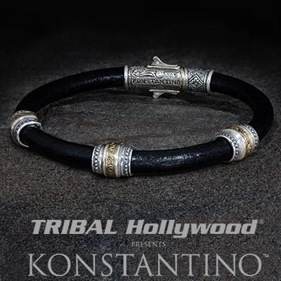 Konstantino Wine Barrel Silver Beads Mens Leather Bracelet