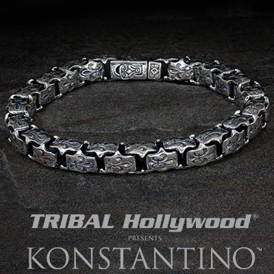 8f7066278b02 Konstantino FLEUR DE LIS INTERLOCKING Silver Links Mens Bracelet