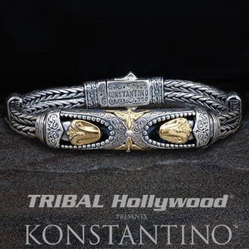 Konstantino Movable Gold Serpent Heads Silver Mens Bracelet