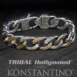 Konstantino Silver and Gold Greek Scrollwork Mens Bracelet