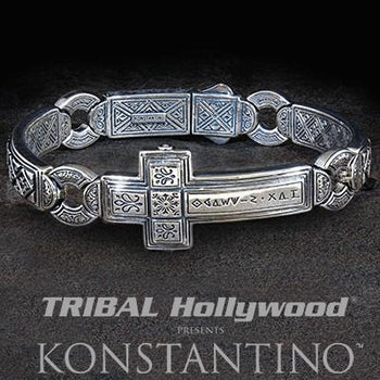 Konstantino Greek 3D Cross Sterling Silver Mens Bracelet