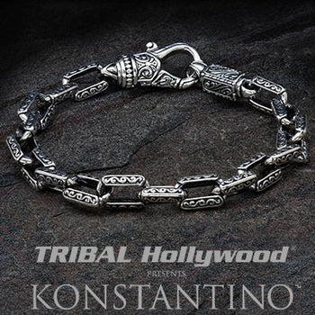 Konstantino Greek Rectangular Link Silver Mens Bracelet