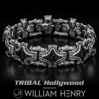 William Henry Carbon Fiber Shield Mens Silver Bracelet