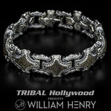 William Henry Green Gray Dinosaur Fossil Silver Bracelet