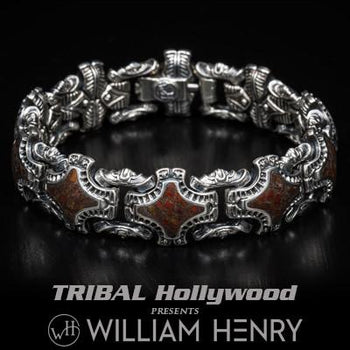William Henry Red Dinosaur Bone Fossil Mens Silver Bracelet