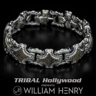 William Henry Green Dinosaur Fossil Silver Mens Bracelet